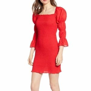 NWT J.O.A. Smock Puff Sleeve Bodycon Mini Dress